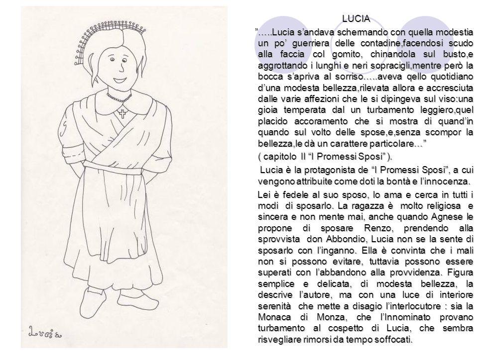"""LUCIA """"…..Lucia s'andava schermando con quella modestia un po' guerriera delle contadine,facendosi scudo alla faccia col gomito, chinandola sul busto,"""