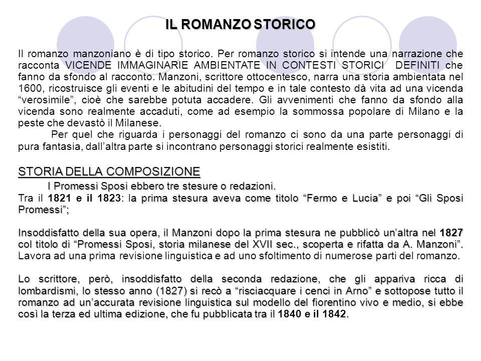 IL ROMANZO STORICO Il romanzo manzoniano è di tipo storico. Per romanzo storico si intende una narrazione che racconta VICENDE IMMAGINARIE AMBIENTATE