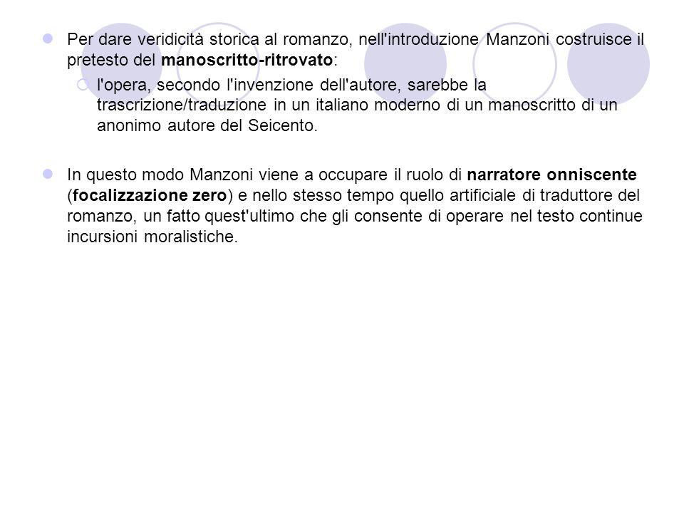 Per dare veridicità storica al romanzo, nell'introduzione Manzoni costruisce il pretesto del manoscritto-ritrovato:  l'opera, secondo l'invenzione de
