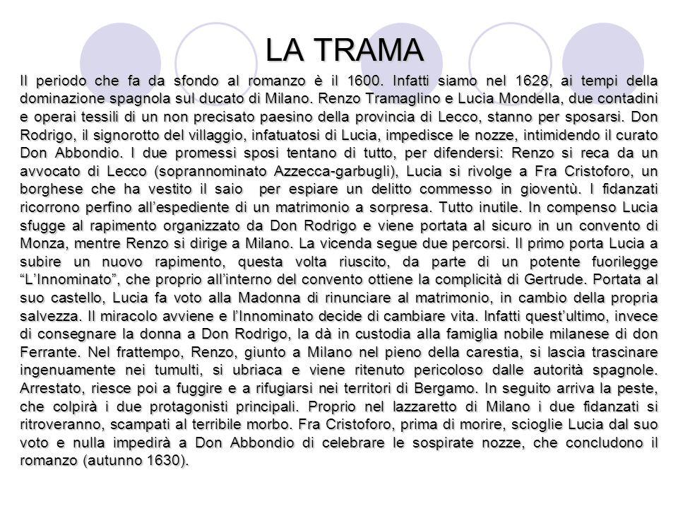 LA TRAMA Il periodo che fa da sfondo al romanzo è il 1600. Infatti siamo nel 1628, ai tempi della dominazione spagnola sul ducato di Milano. Renzo Tra