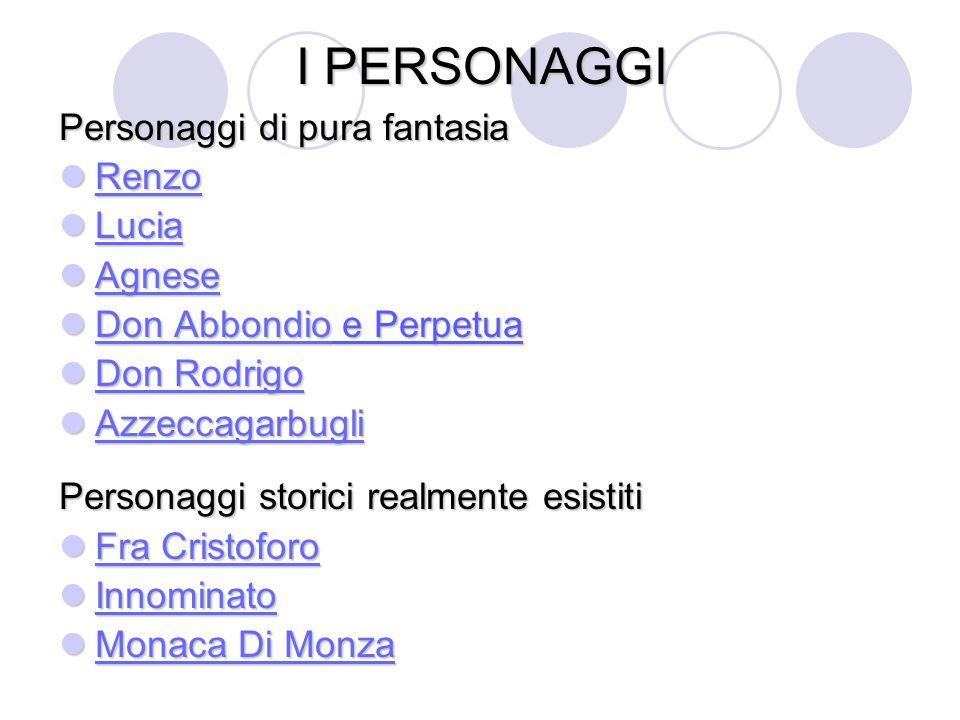 I PERSONAGGI Personaggi di pura fantasia Renzo Renzo Renzo Lucia Lucia Lucia Agnese Agnese Agnese Don Abbondio e Perpetua Don Abbondio e Perpetua Don