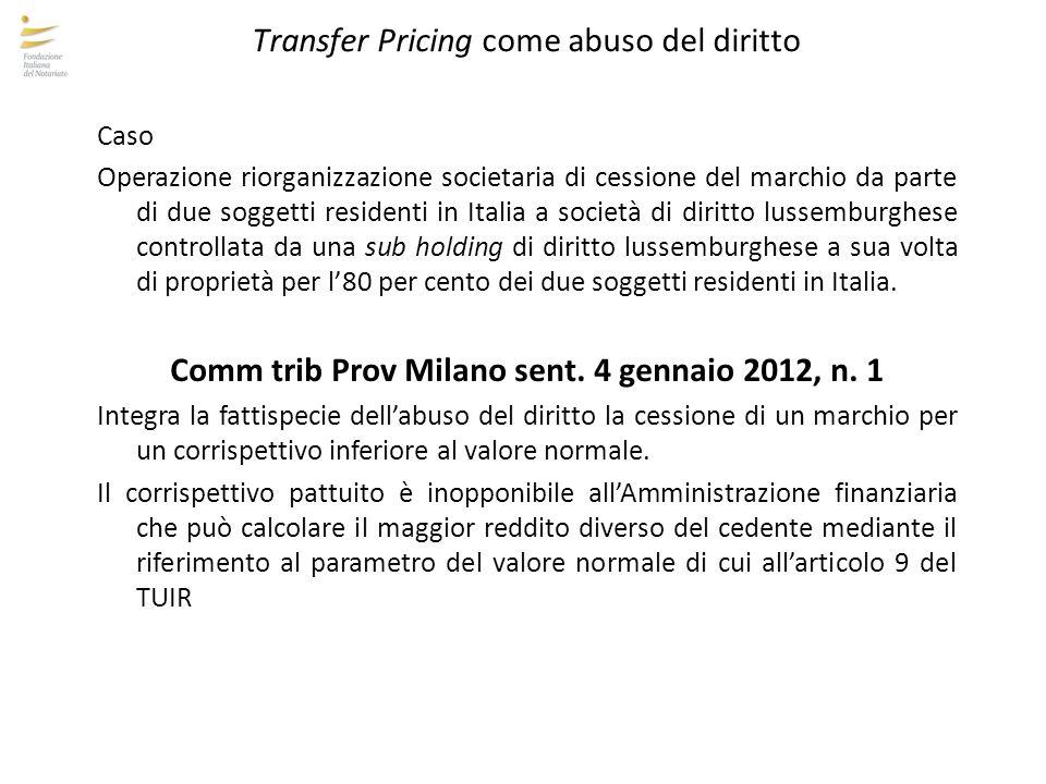 Transfer Pricing come abuso del diritto Caso Operazione riorganizzazione societaria di cessione del marchio da parte di due soggetti residenti in Ital