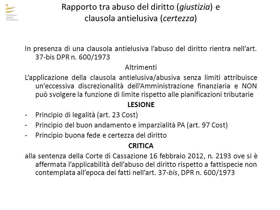 Rapporto tra abuso del diritto (giustizia) e clausola antielusiva (certezza) In presenza di una clausola antielusiva l'abuso del diritto rientra nell'