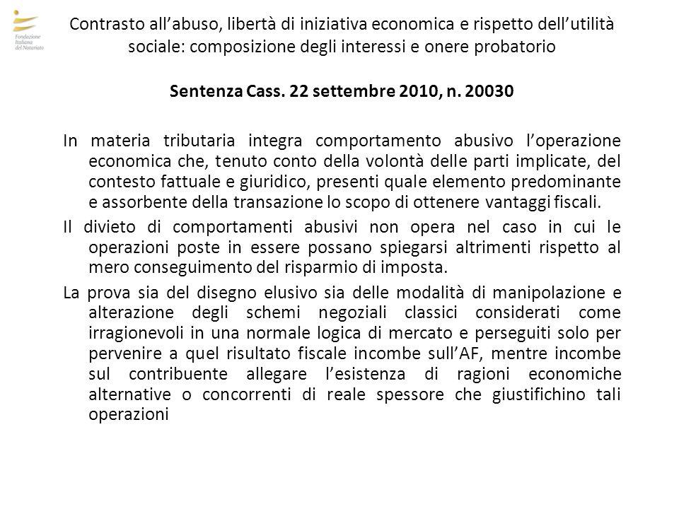 Contrasto all'abuso, libertà di iniziativa economica e rispetto dell'utilità sociale: composizione degli interessi e onere probatorio Sentenza Cass. 2