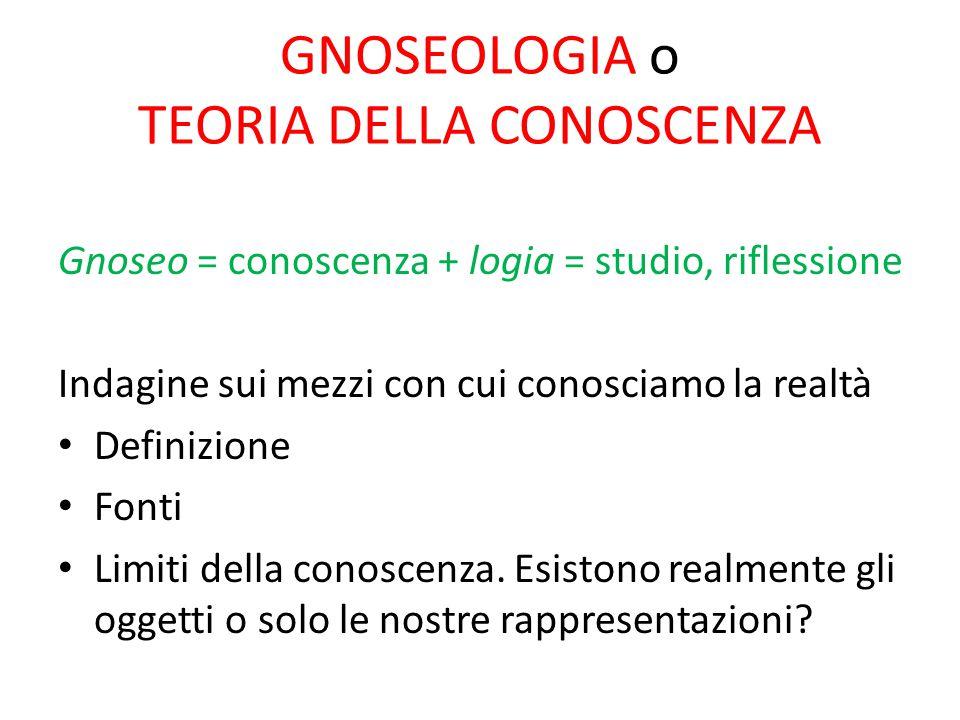 GNOSEOLOGIA o TEORIA DELLA CONOSCENZA Gnoseo = conoscenza + logia = studio, riflessione Indagine sui mezzi con cui conosciamo la realtà Definizione Fo