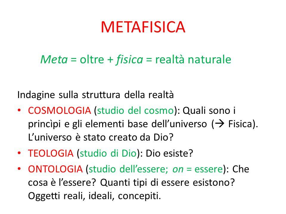 METAFISICA Meta = oltre + fisica = realtà naturale Indagine sulla struttura della realtà COSMOLOGIA (studio del cosmo): Quali sono i princìpi e gli el