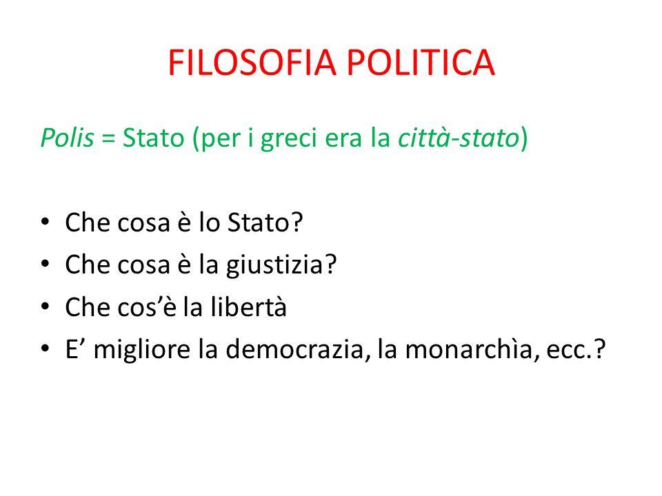 FILOSOFIA POLITICA Polis = Stato (per i greci era la città-stato) Che cosa è lo Stato? Che cosa è la giustizia? Che cos'è la libertà E' migliore la de