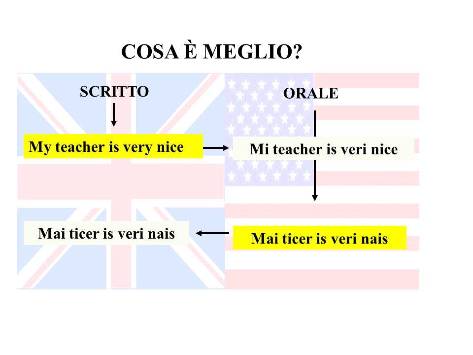 SCRITTO ORALE COSA È MEGLIO? My teacher is very nice Mai ticer is veri nais Mi teacher is veri nice Mai ticer is veri nais