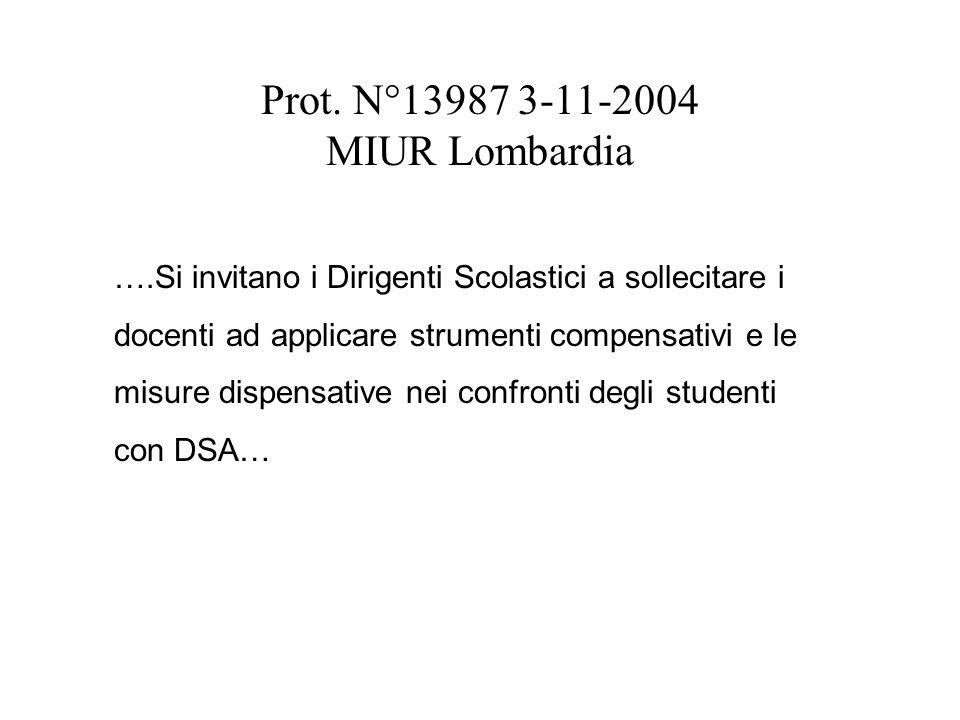 Prot. N°13987 3-11-2004 MIUR Lombardia ….Si invitano i Dirigenti Scolastici a sollecitare i docenti ad applicare strumenti compensativi e le misure di