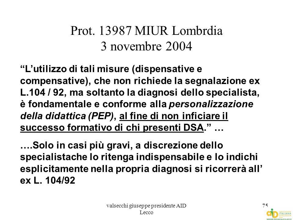 """valsecchi giuseppe presidente AID Lecco 75 Prot. 13987 MIUR Lombrdia 3 novembre 2004 """"L'utilizzo di tali misure (dispensative e compensative), che non"""