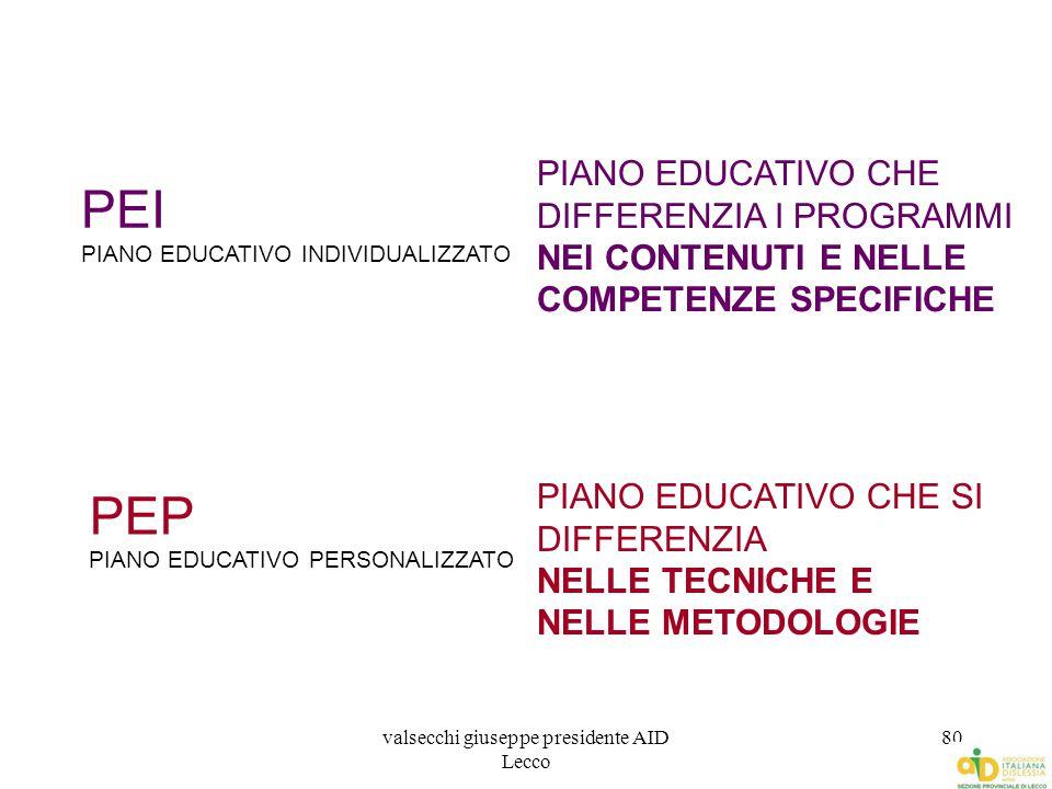 valsecchi giuseppe presidente AID Lecco 80 PEI PIANO EDUCATIVO INDIVIDUALIZZATO PEP PIANO EDUCATIVO PERSONALIZZATO PIANO EDUCATIVO CHE DIFFERENZIA I P