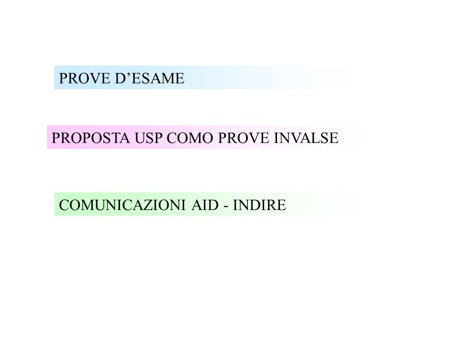 PROVE D'ESAME PROPOSTA USP COMO PROVE INVALSE COMUNICAZIONI AID - INDIRE