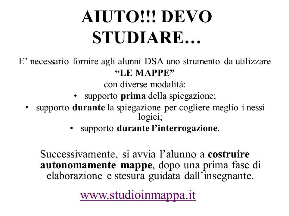 """AIUTO!!! DEVO STUDIARE… E' necessario fornire agli alunni DSA uno strumento da utilizzare """"LE MAPPE"""" con diverse modalità: supporto prima della spiega"""
