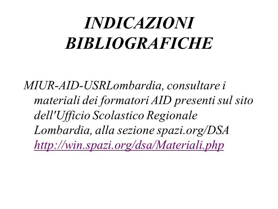 MIUR-AID-USRLombardia, consultare i materiali dei formatori AID presenti sul sito dell'Ufficio Scolastico Regionale Lombardia, alla sezione spazi.org/