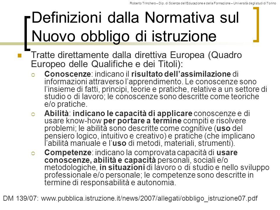 Roberto Trinchero – Dip. di Scienze dell'Educazione e della Formazione – Università degli studi di Torino 10 Definizioni dalla Normativa sul Nuovo obb