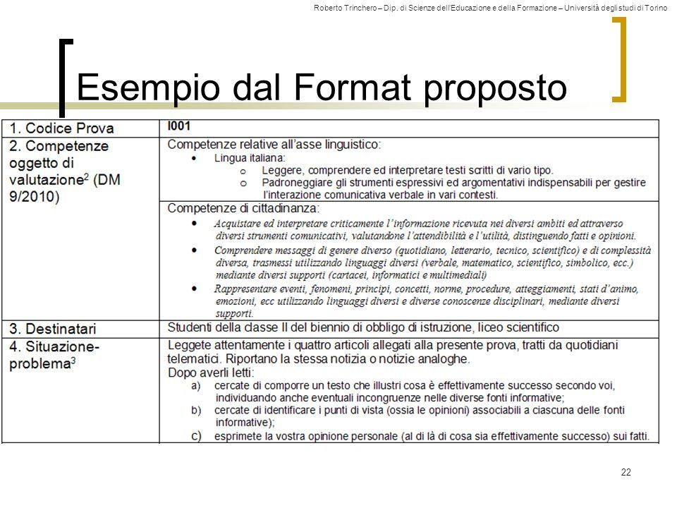Roberto Trinchero – Dip. di Scienze dell'Educazione e della Formazione – Università degli studi di Torino 22 Esempio dal Format proposto
