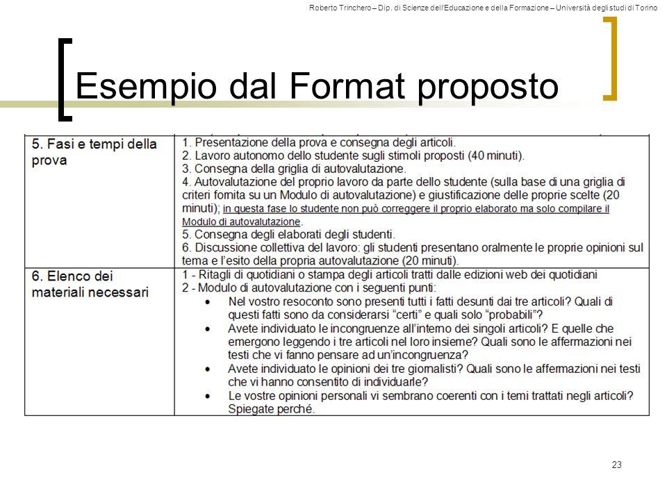 Roberto Trinchero – Dip. di Scienze dell'Educazione e della Formazione – Università degli studi di Torino 23 Esempio dal Format proposto