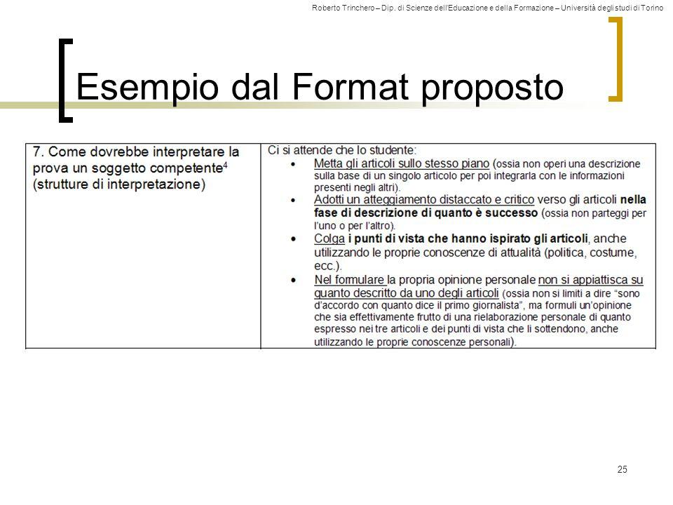 Roberto Trinchero – Dip. di Scienze dell'Educazione e della Formazione – Università degli studi di Torino 25 Esempio dal Format proposto