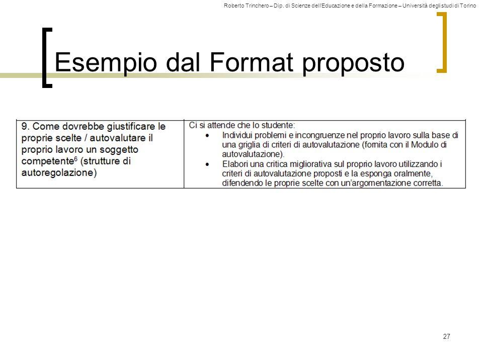 Roberto Trinchero – Dip. di Scienze dell'Educazione e della Formazione – Università degli studi di Torino 27 Esempio dal Format proposto