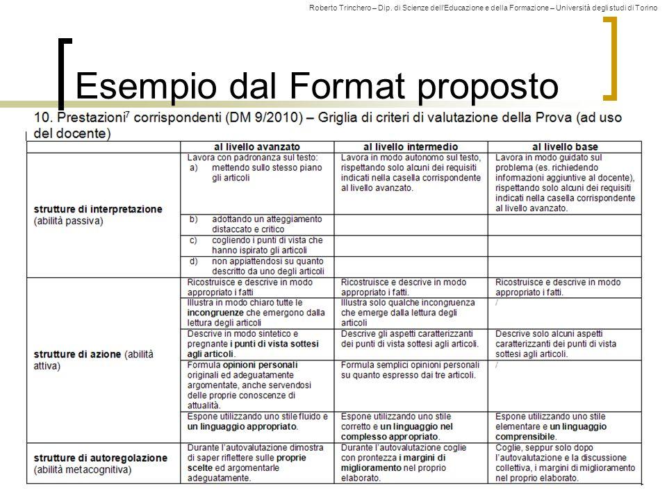 Roberto Trinchero – Dip. di Scienze dell'Educazione e della Formazione – Università degli studi di Torino 29 Esempio dal Format proposto