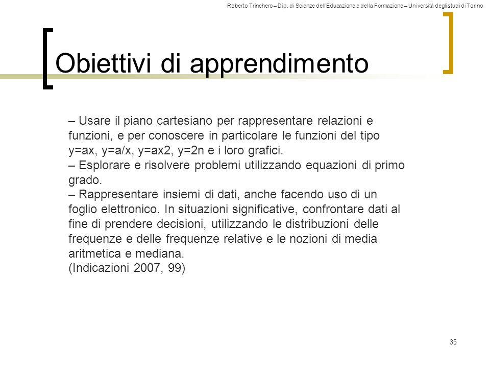 Roberto Trinchero – Dip. di Scienze dell'Educazione e della Formazione – Università degli studi di Torino 35 Obiettivi di apprendimento – Usare il pia