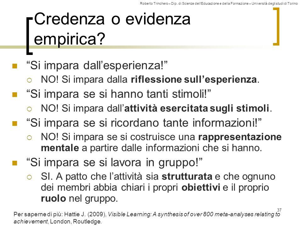 """Roberto Trinchero – Dip. di Scienze dell'Educazione e della Formazione – Università degli studi di Torino 37 Credenza o evidenza empirica? """"Si impara"""