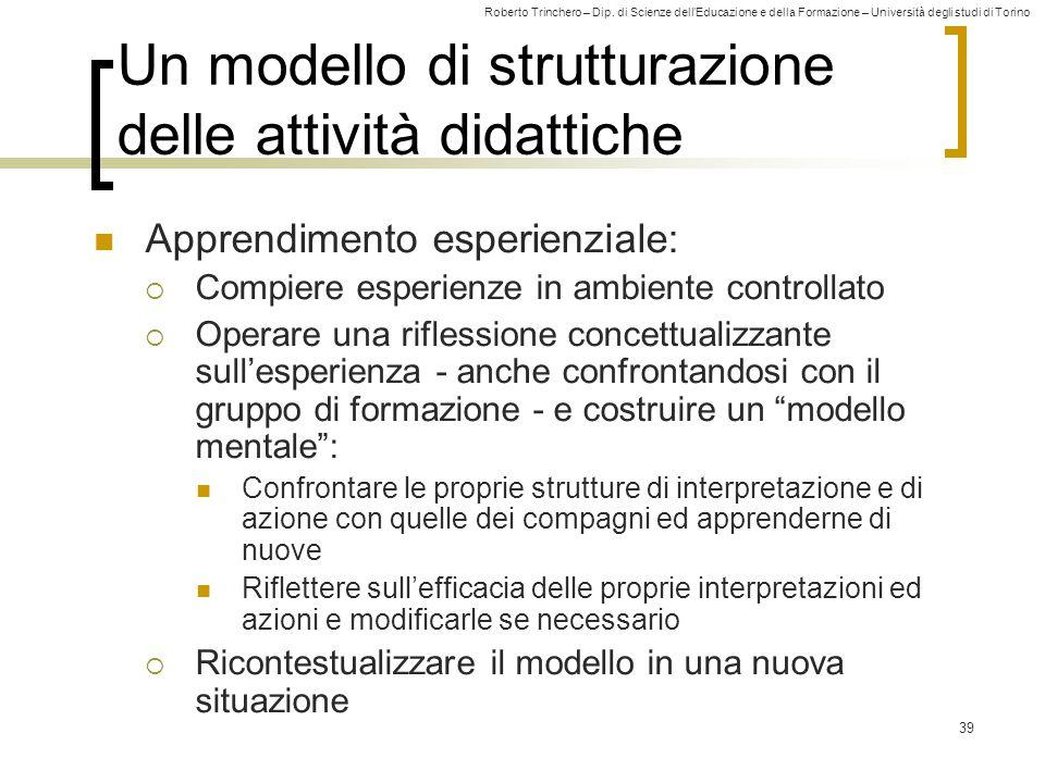 Roberto Trinchero – Dip. di Scienze dell'Educazione e della Formazione – Università degli studi di Torino 39 Un modello di strutturazione delle attivi