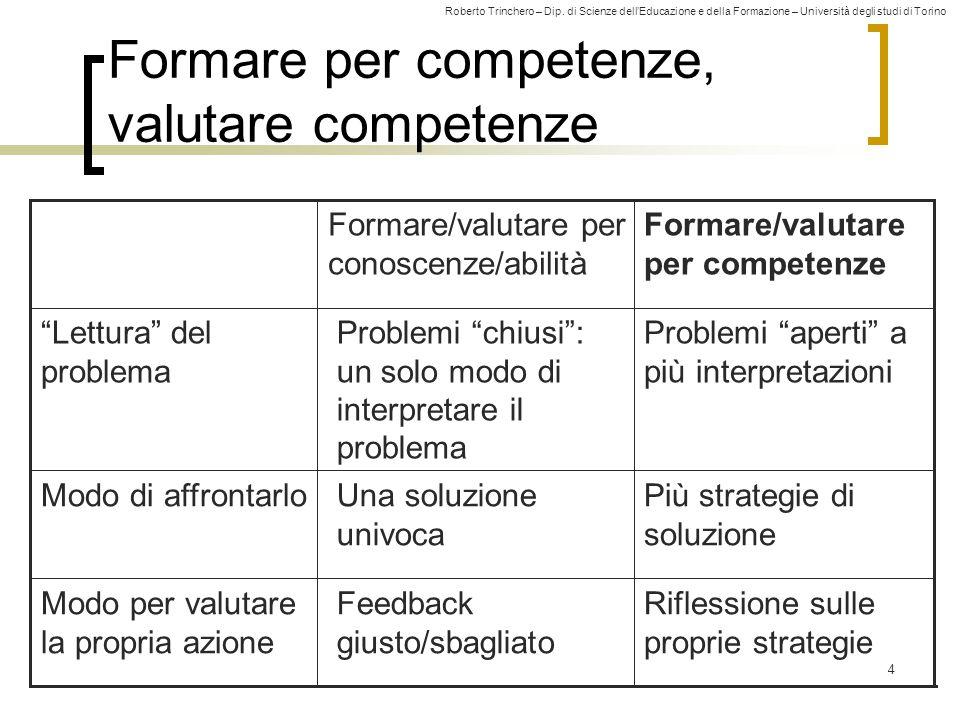 Roberto Trinchero – Dip. di Scienze dell'Educazione e della Formazione – Università degli studi di Torino 4 Formare per competenze, valutare competenz