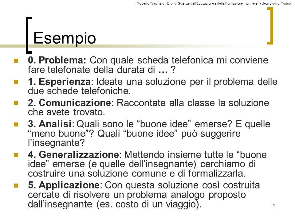 Roberto Trinchero – Dip. di Scienze dell'Educazione e della Formazione – Università degli studi di Torino 41 Esempio 0. Problema: Con quale scheda tel