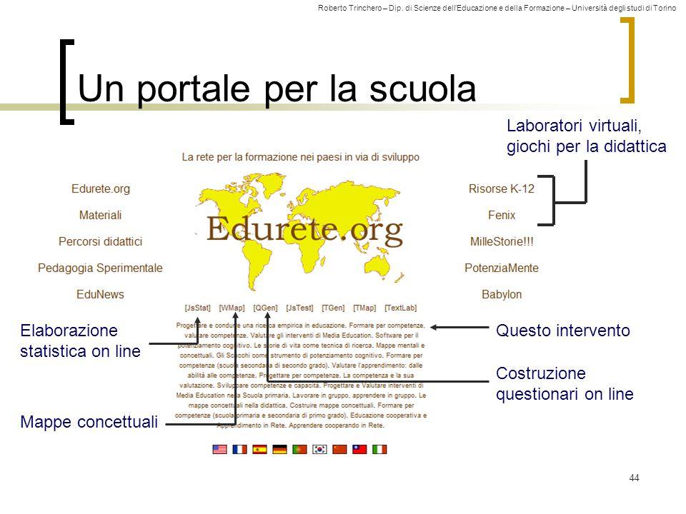Roberto Trinchero – Dip. di Scienze dell'Educazione e della Formazione – Università degli studi di Torino 44 Un portale per la scuola Laboratori virtu