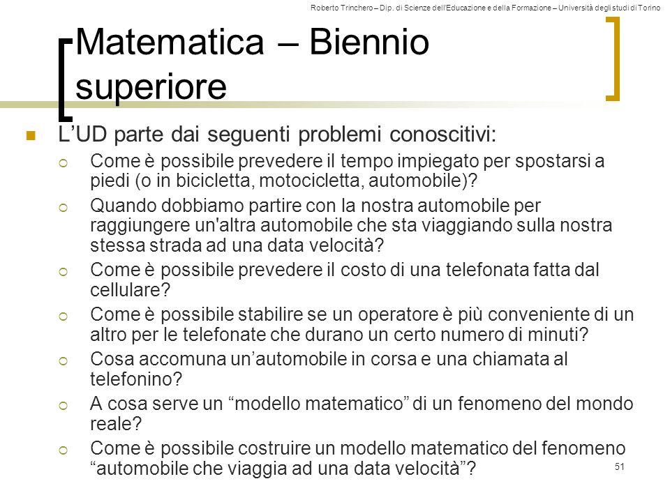 Roberto Trinchero – Dip. di Scienze dell'Educazione e della Formazione – Università degli studi di Torino 51 Matematica – Biennio superiore L'UD parte