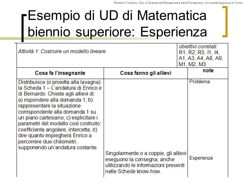 Roberto Trinchero – Dip. di Scienze dell'Educazione e della Formazione – Università degli studi di Torino 53 Esempio di UD di Matematica biennio super