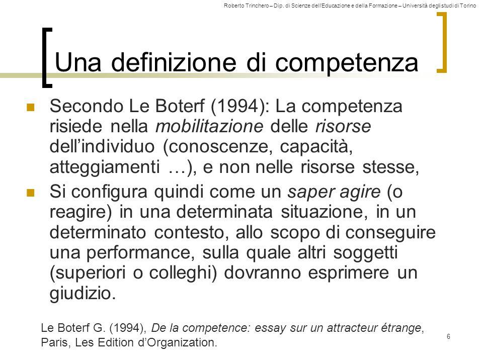 Roberto Trinchero – Dip. di Scienze dell'Educazione e della Formazione – Università degli studi di Torino 6 Una definizione di competenza Secondo Le B