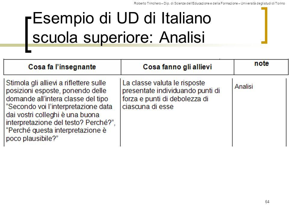 Roberto Trinchero – Dip. di Scienze dell'Educazione e della Formazione – Università degli studi di Torino 64 Esempio di UD di Italiano scuola superior