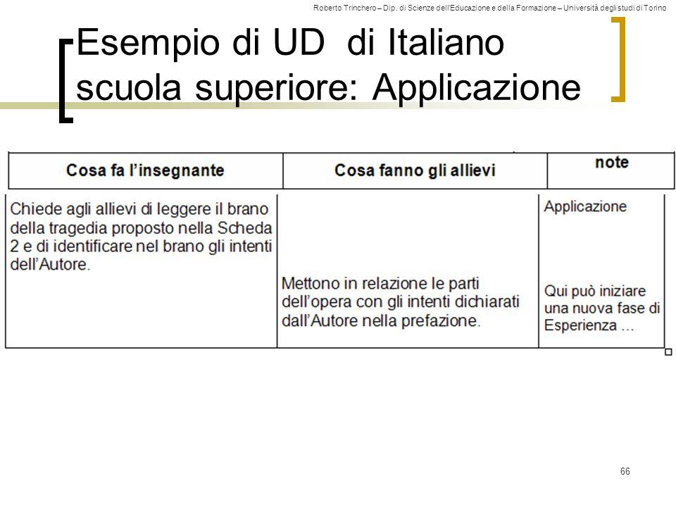 Roberto Trinchero – Dip. di Scienze dell'Educazione e della Formazione – Università degli studi di Torino 66 Esempio di UD di Italiano scuola superior