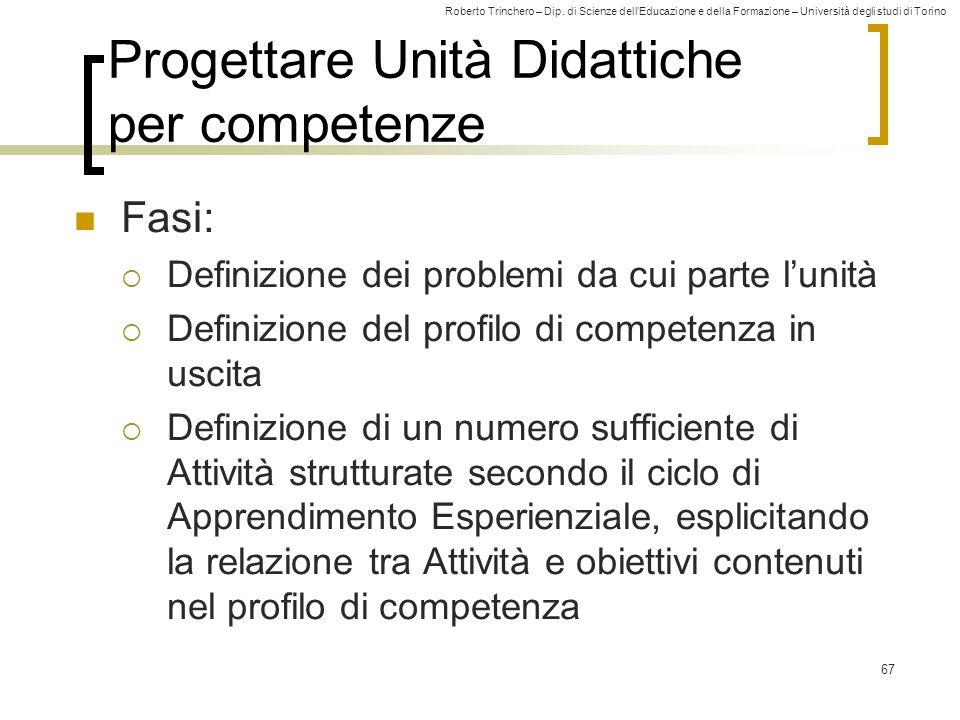 Roberto Trinchero – Dip. di Scienze dell'Educazione e della Formazione – Università degli studi di Torino 67 Progettare Unità Didattiche per competenz