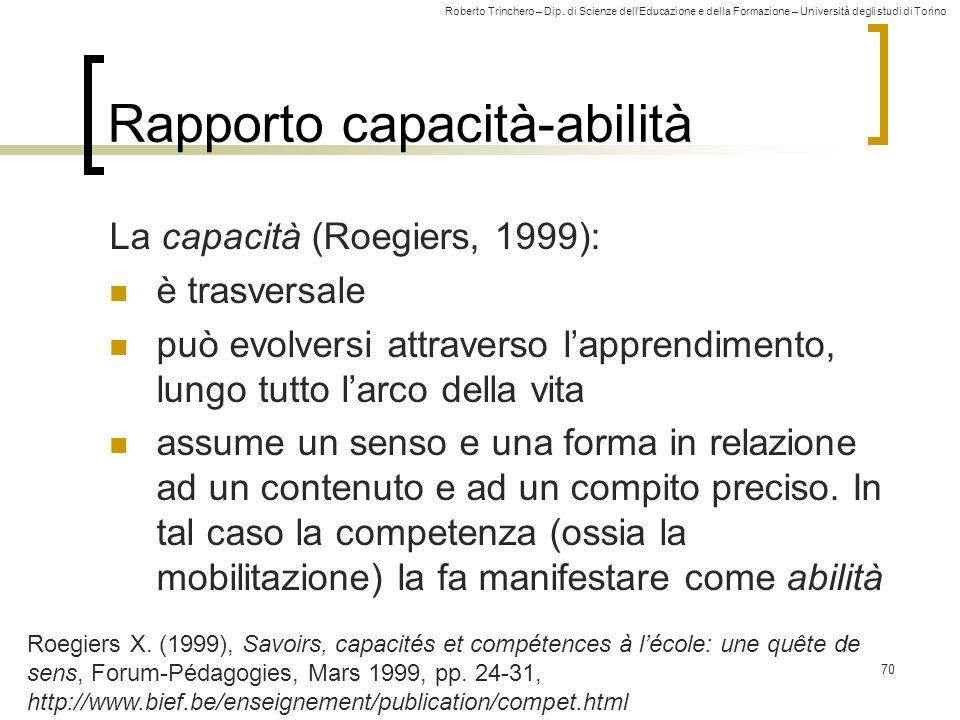 Roberto Trinchero – Dip. di Scienze dell'Educazione e della Formazione – Università degli studi di Torino 70 Rapporto capacità-abilità La capacità (Ro