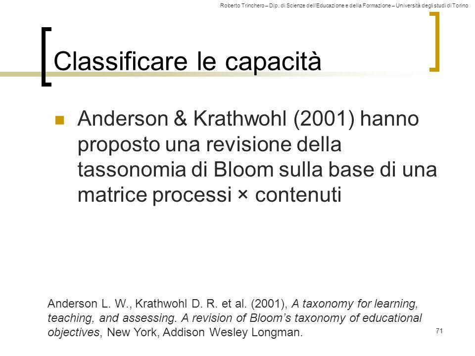 Roberto Trinchero – Dip. di Scienze dell'Educazione e della Formazione – Università degli studi di Torino 71 Classificare le capacità Anderson & Krath