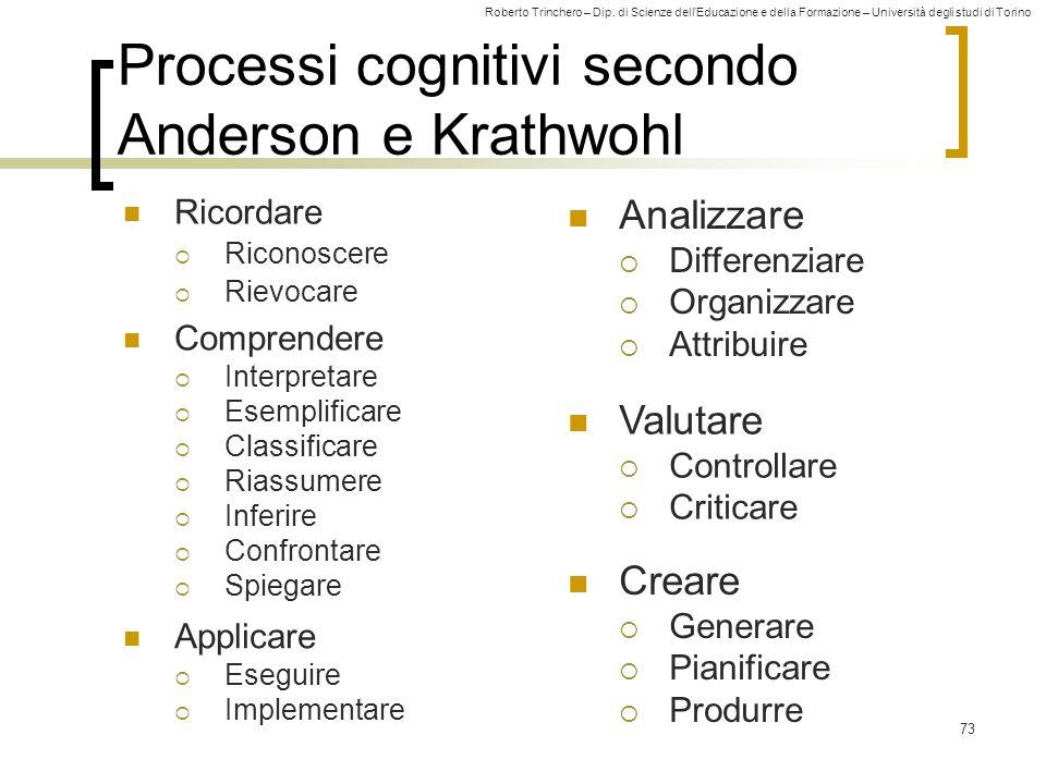 Roberto Trinchero – Dip. di Scienze dell'Educazione e della Formazione – Università degli studi di Torino 73 Processi cognitivi secondo Anderson e Kra