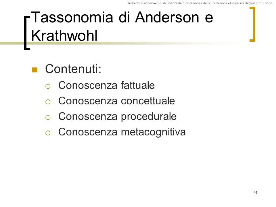 Roberto Trinchero – Dip. di Scienze dell'Educazione e della Formazione – Università degli studi di Torino 74 Tassonomia di Anderson e Krathwohl Conten