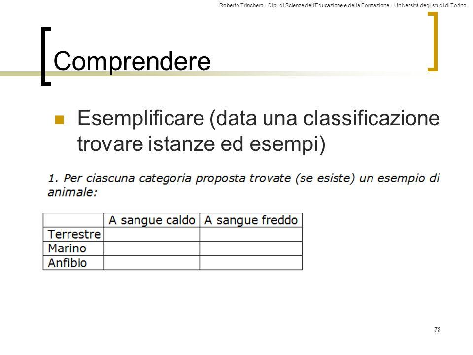 Roberto Trinchero – Dip. di Scienze dell'Educazione e della Formazione – Università degli studi di Torino 78 Comprendere Esemplificare (data una class