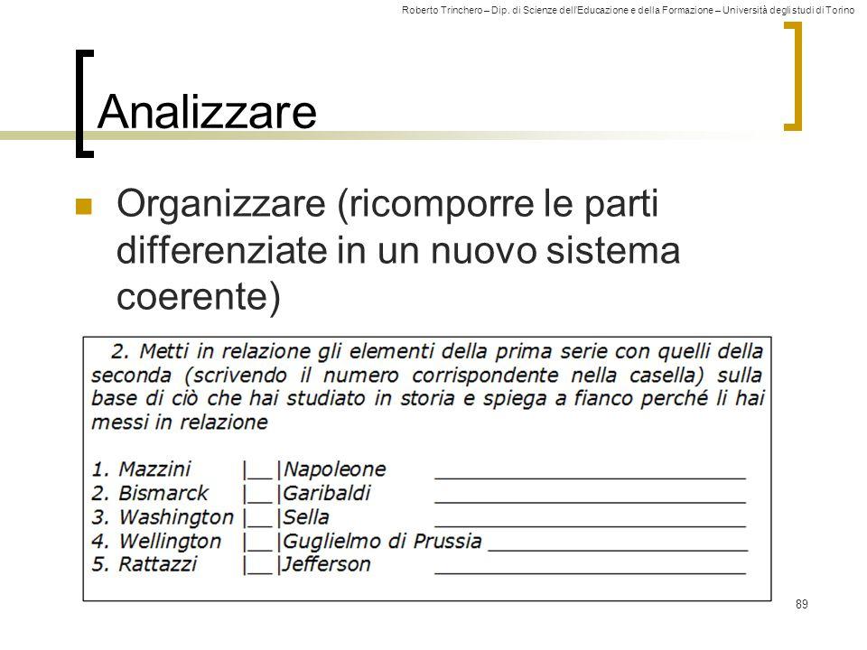 Roberto Trinchero – Dip. di Scienze dell'Educazione e della Formazione – Università degli studi di Torino 89 Analizzare Organizzare (ricomporre le par
