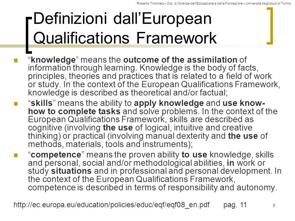Roberto Trinchero – Dip. di Scienze dell'Educazione e della Formazione – Università degli studi di Torino 9 Definizioni dall'European Qualifications F
