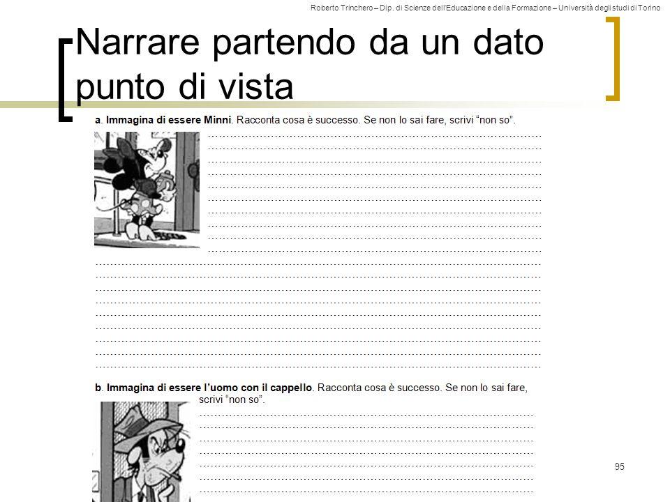 Roberto Trinchero – Dip. di Scienze dell'Educazione e della Formazione – Università degli studi di Torino 95 Narrare partendo da un dato punto di vist