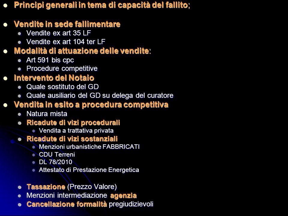 Art 107 APPLICABILE ANCHE AL LIQUIDATORE GIUDIZIALE IN SEDE DI CONCORDATO CON CESSIONE DEI BENI.