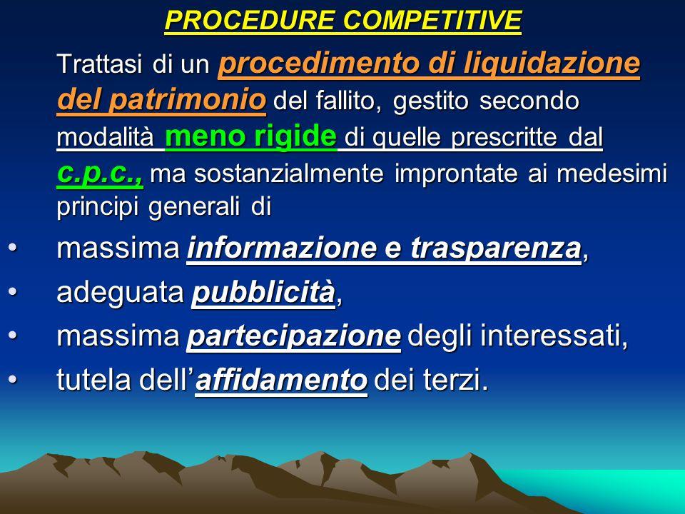 PROCEDURE COMPETITIVE Trattasi di un procedimento di liquidazione del patrimonio del fallito, gestito secondo modalità meno rigide di quelle prescritt