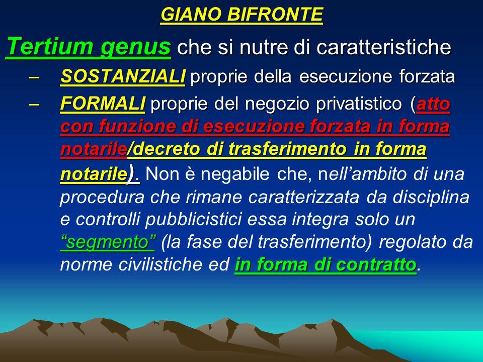 GIANO BIFRONTE Tertium genus che si nutre di caratteristiche –SOSTANZIALI proprie della esecuzione forzata –FORMALI proprie del negozio privatistico (