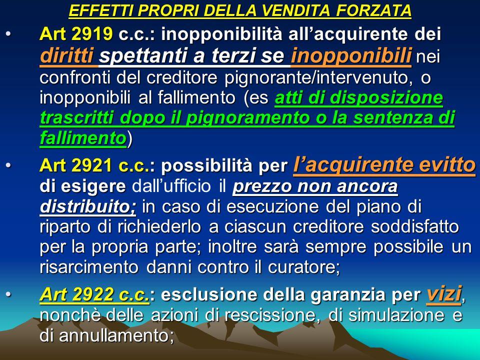 EFFETTI PROPRI DELLA VENDITA FORZATA Art 2919 c.c.: inopponibilità all'acquirente dei diritti spettanti a terzi se inopponibili nei confronti del cred