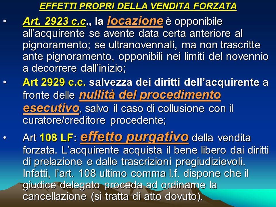 EFFETTI PROPRI DELLA VENDITA FORZATA Art. 2923 c.c., la locazione è opponibile all'acquirente se avente data certa anteriore al pignoramento; se ultra