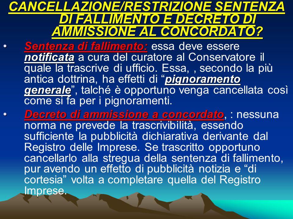 CANCELLAZIONE/RESTRIZIONE SENTENZA DI FALLIMENTO E DECRETO DI AMMISSIONE AL CONCORDATO.